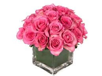 Soft pink roses in cube vase