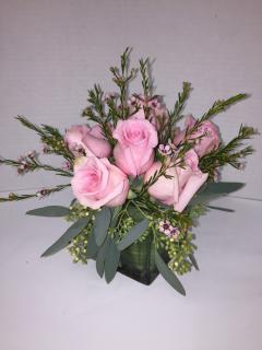 Pink Roses in cube vase